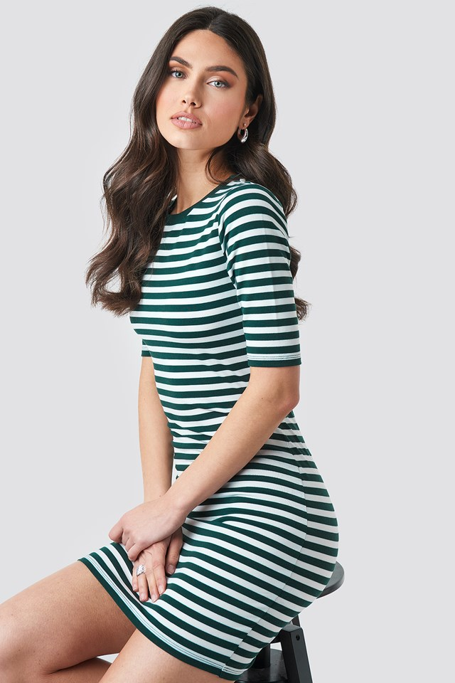 Striped Fitted T-shirt Dress NA-KD.COM