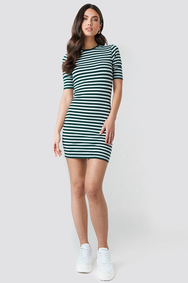 Striped Fitted T-shirt Dress Green