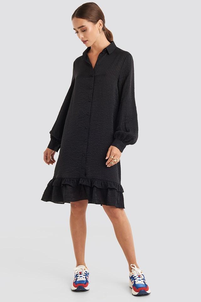 Striped Flounce Mini Dress Black