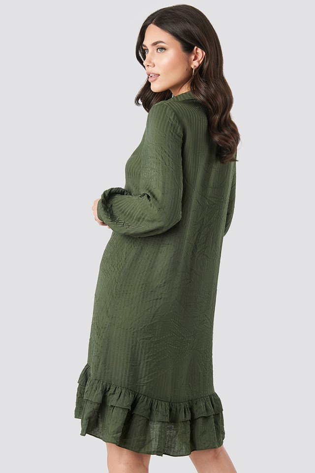Striped Flounce Mini Dress Green