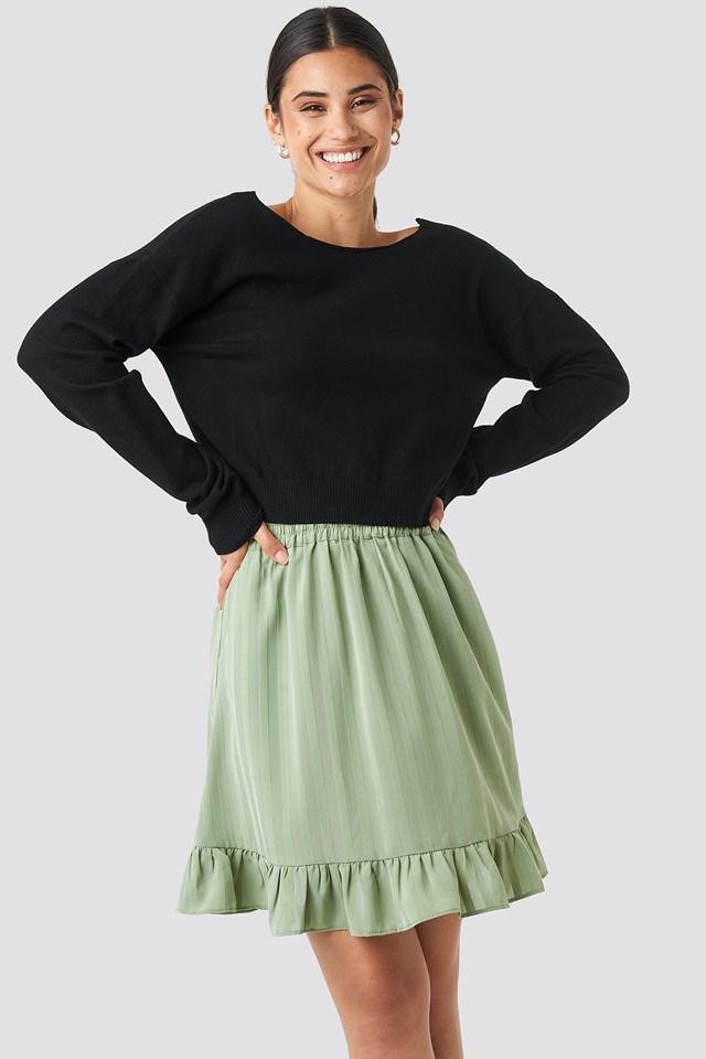 Striped Flounce Skirt Khaki