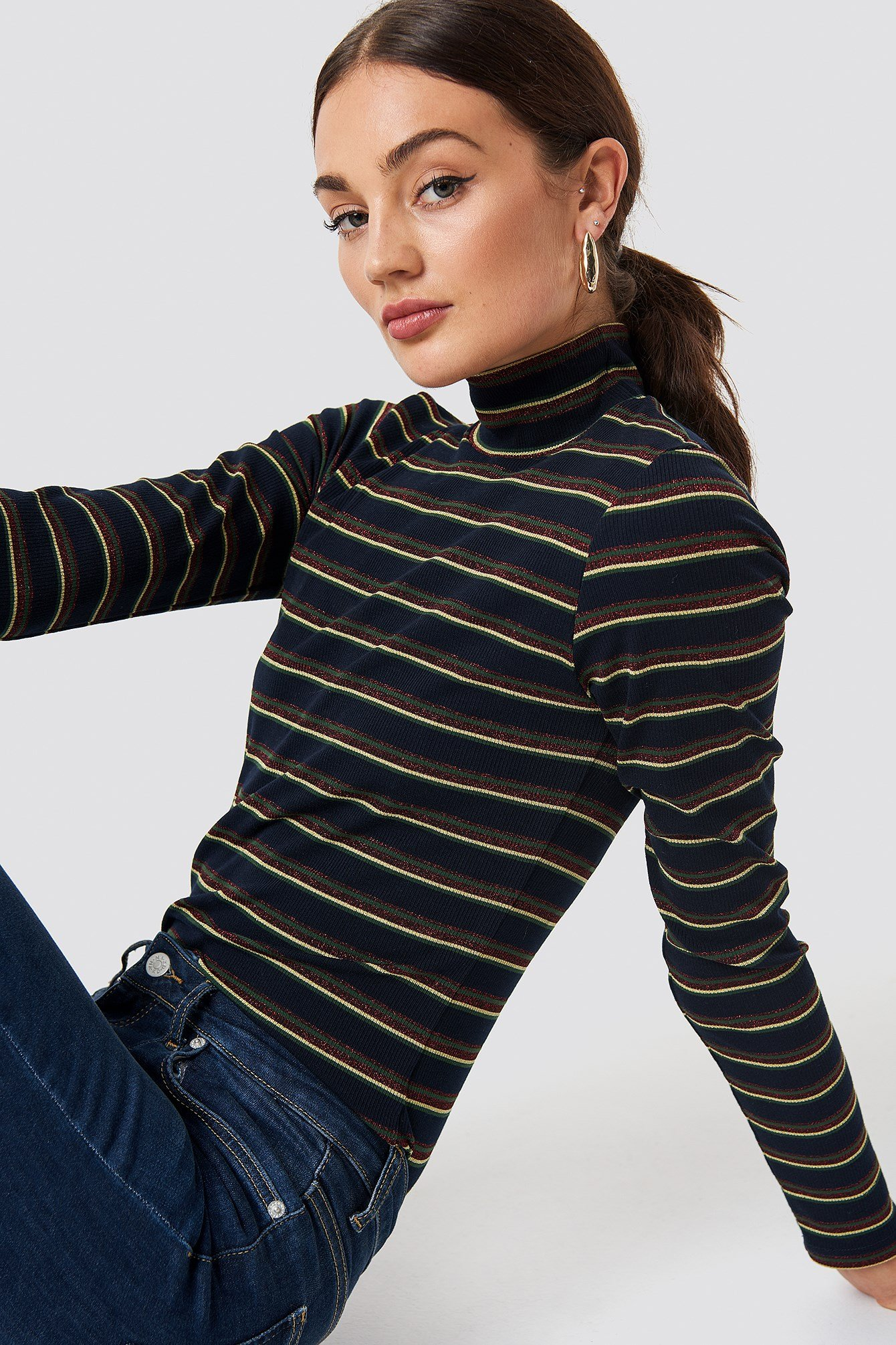 Striped Glittery Polo Top NA-KD.COM