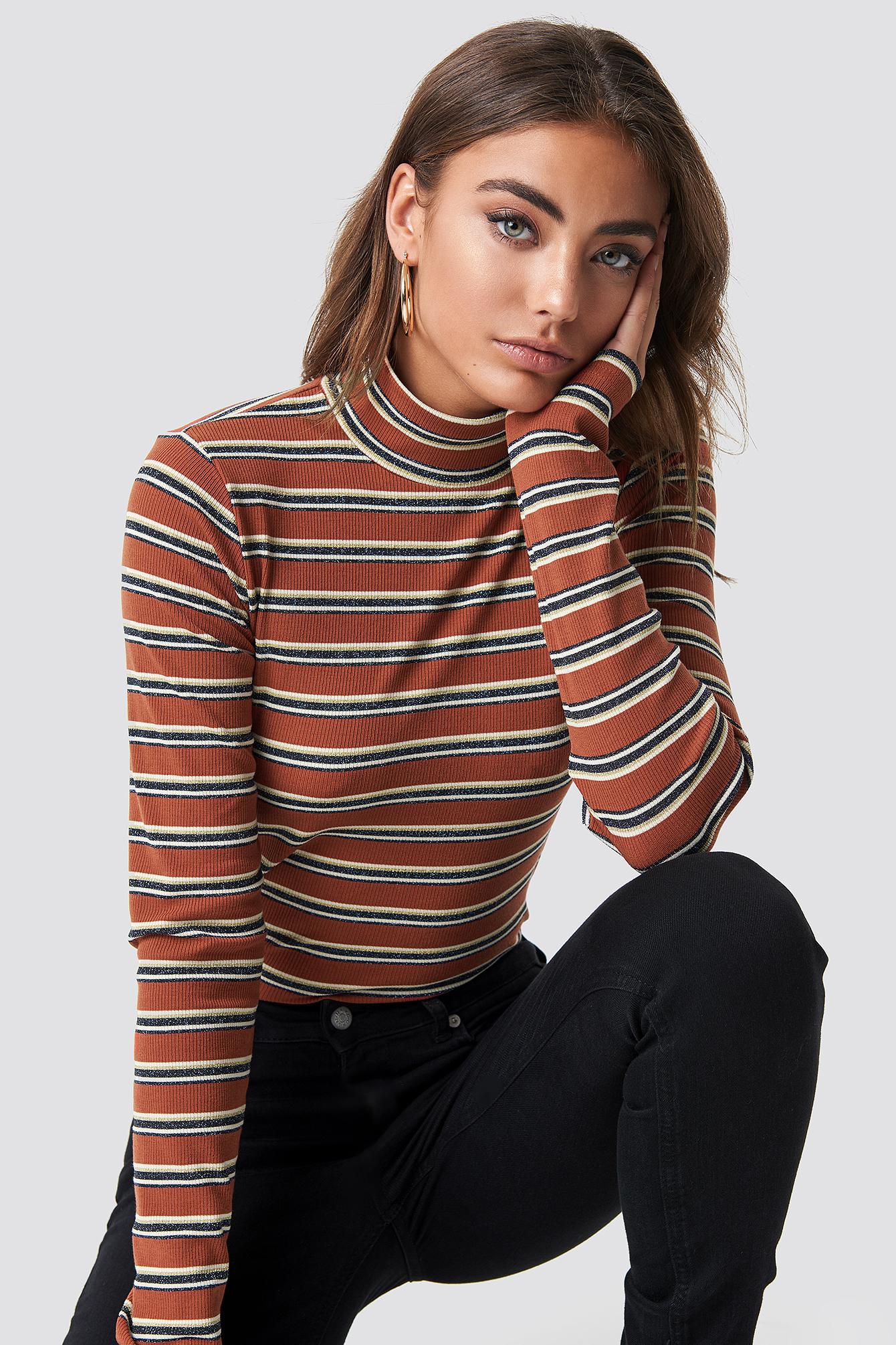 na-kd -  Striped Glittery Polo Top - Brown