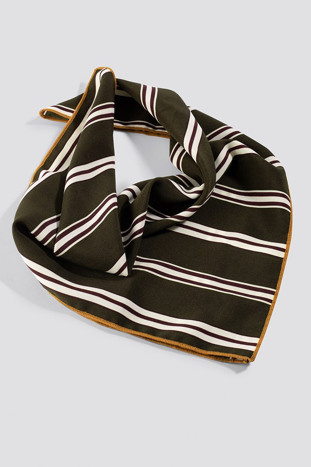 Striped Green Satin Scarf Striped