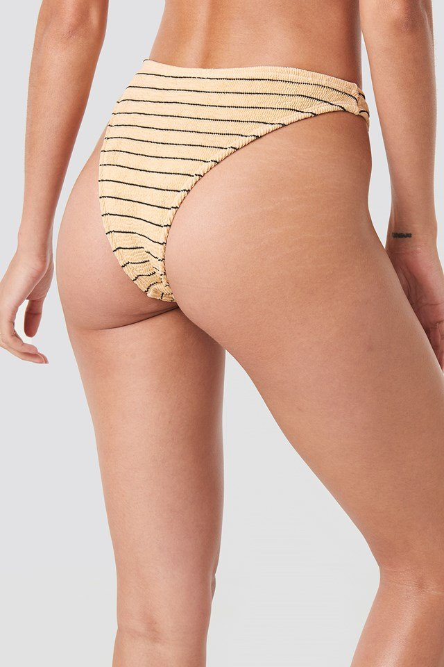 Smocked Striped High Cut Bikini Panty Beige