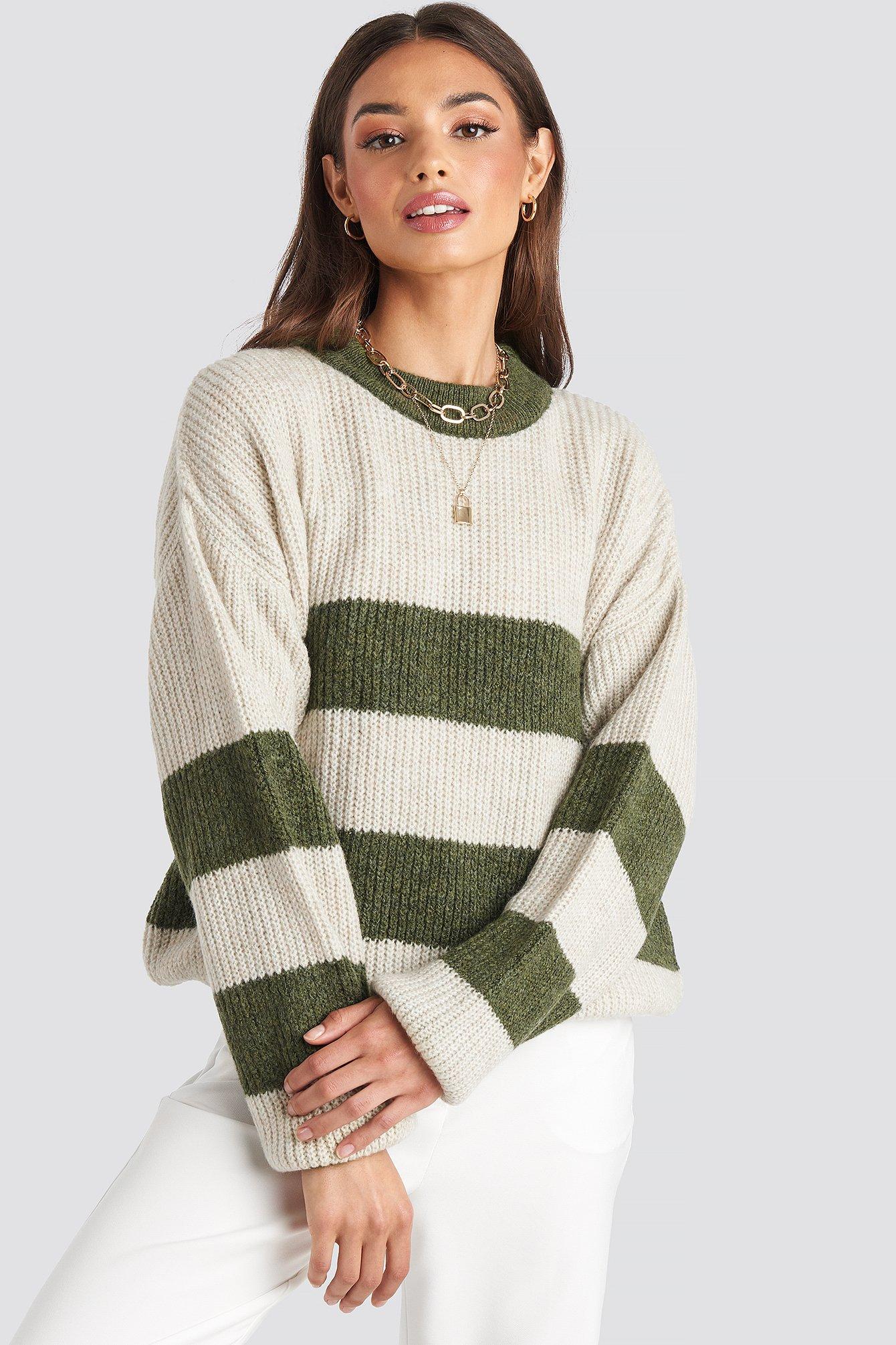 Striped High Neck Knitted Sweater Weiß by Josefinesimonexnakd
