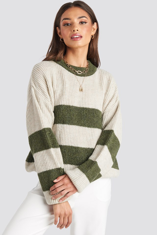 Striped High Neck Knitted Sweater Green/White