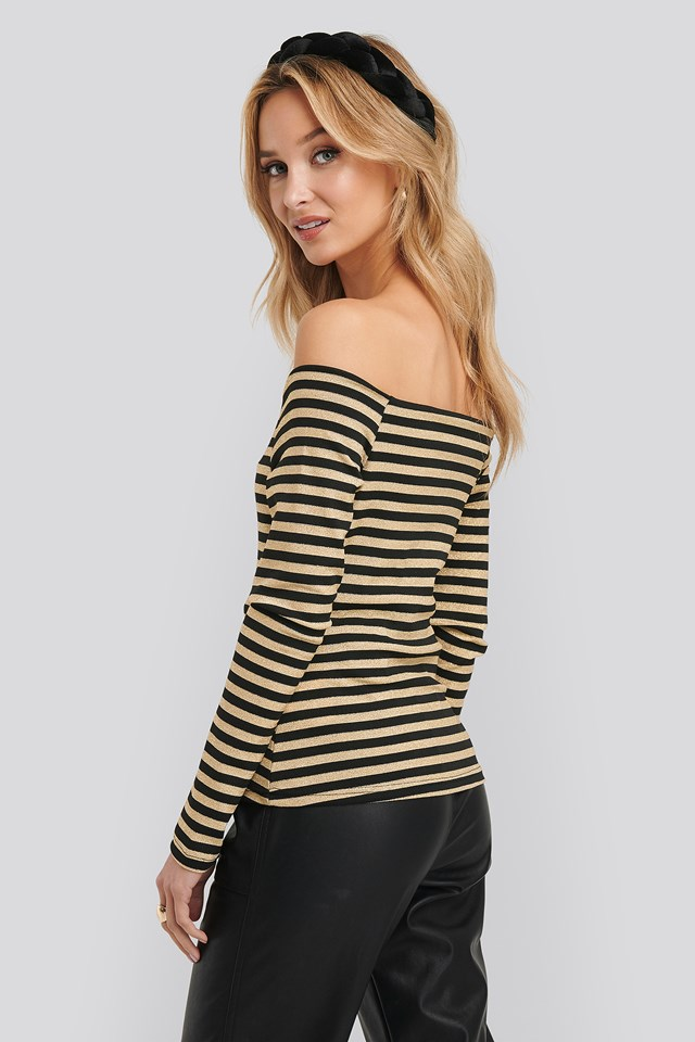 Striped Knitted Blouse Gold