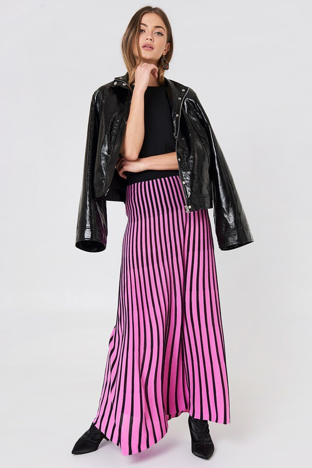 Striped Knitted Skirt Black/Pink