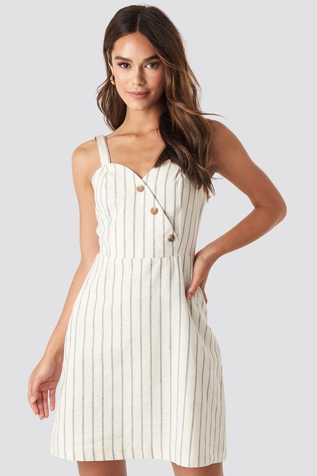 Striped Linen-Blend Mini Dress Blue/White Stripe