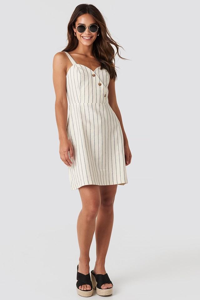 Striped Linen-Blend Mini Dress Blue/White Stripe