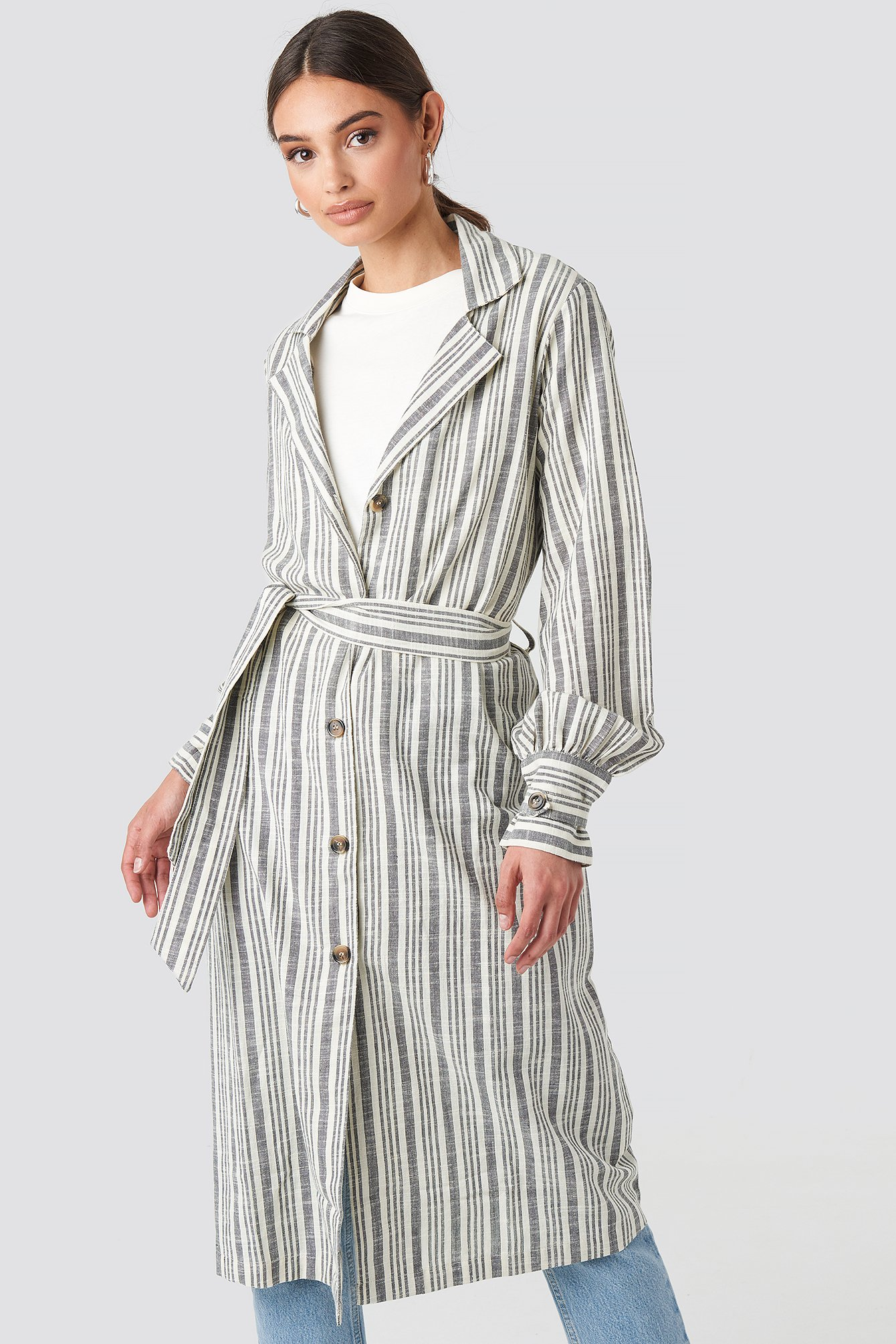 Striped Linen Look Trench Coat NA-KD.COM