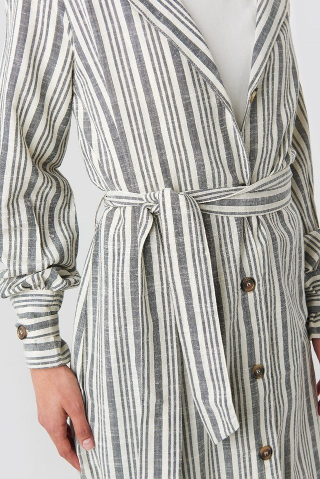 Striped Linen Look Trench Coat Blue/White