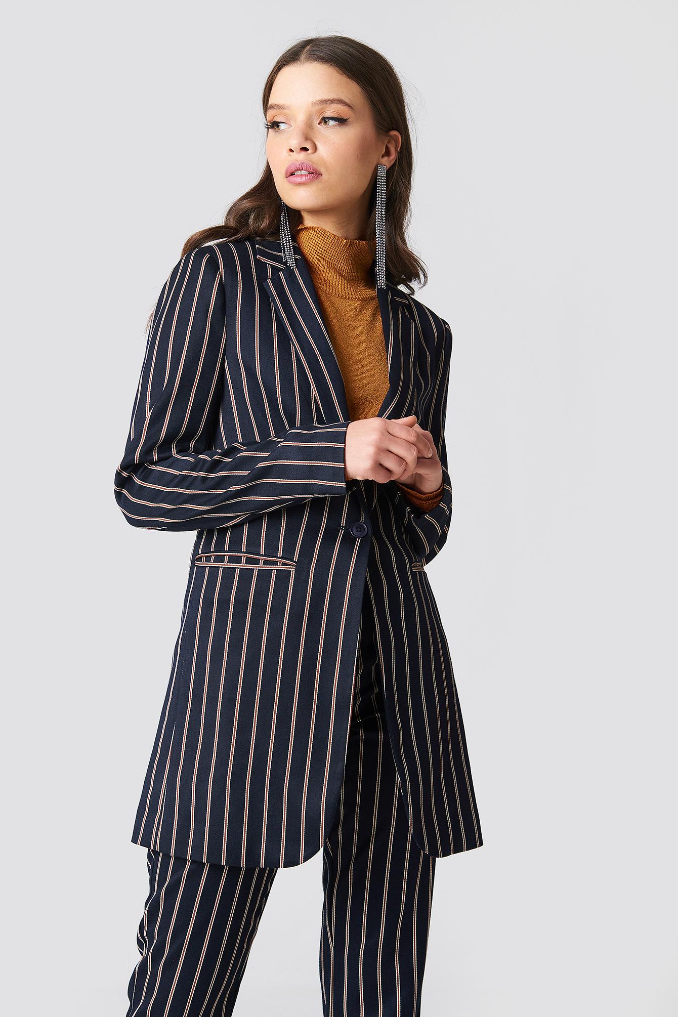 na-kd classic -  Striped Long Blazer - Blue,Multicolor