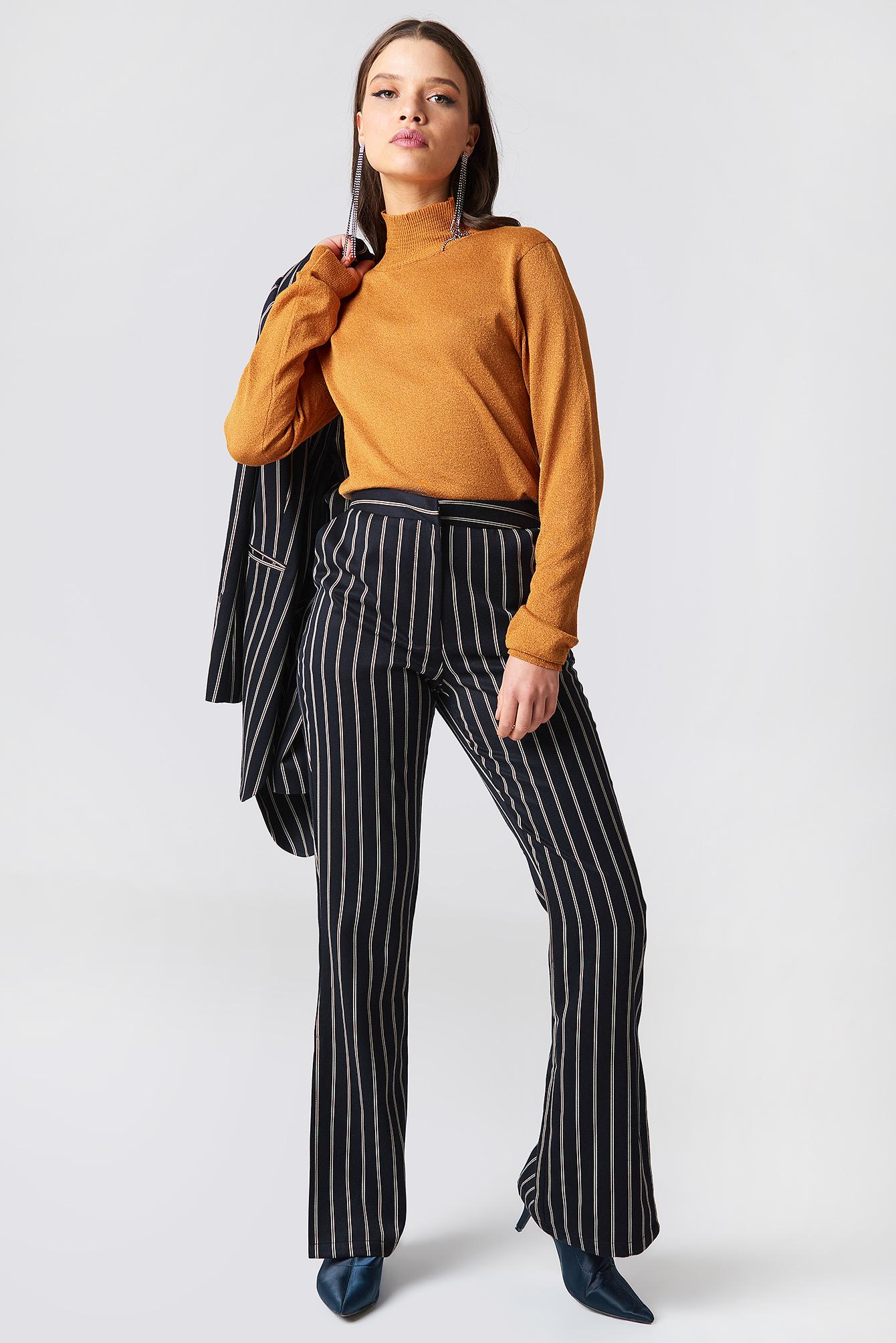 na-kd classic -  Side Slit Suit Pants - Blue,Multicolor