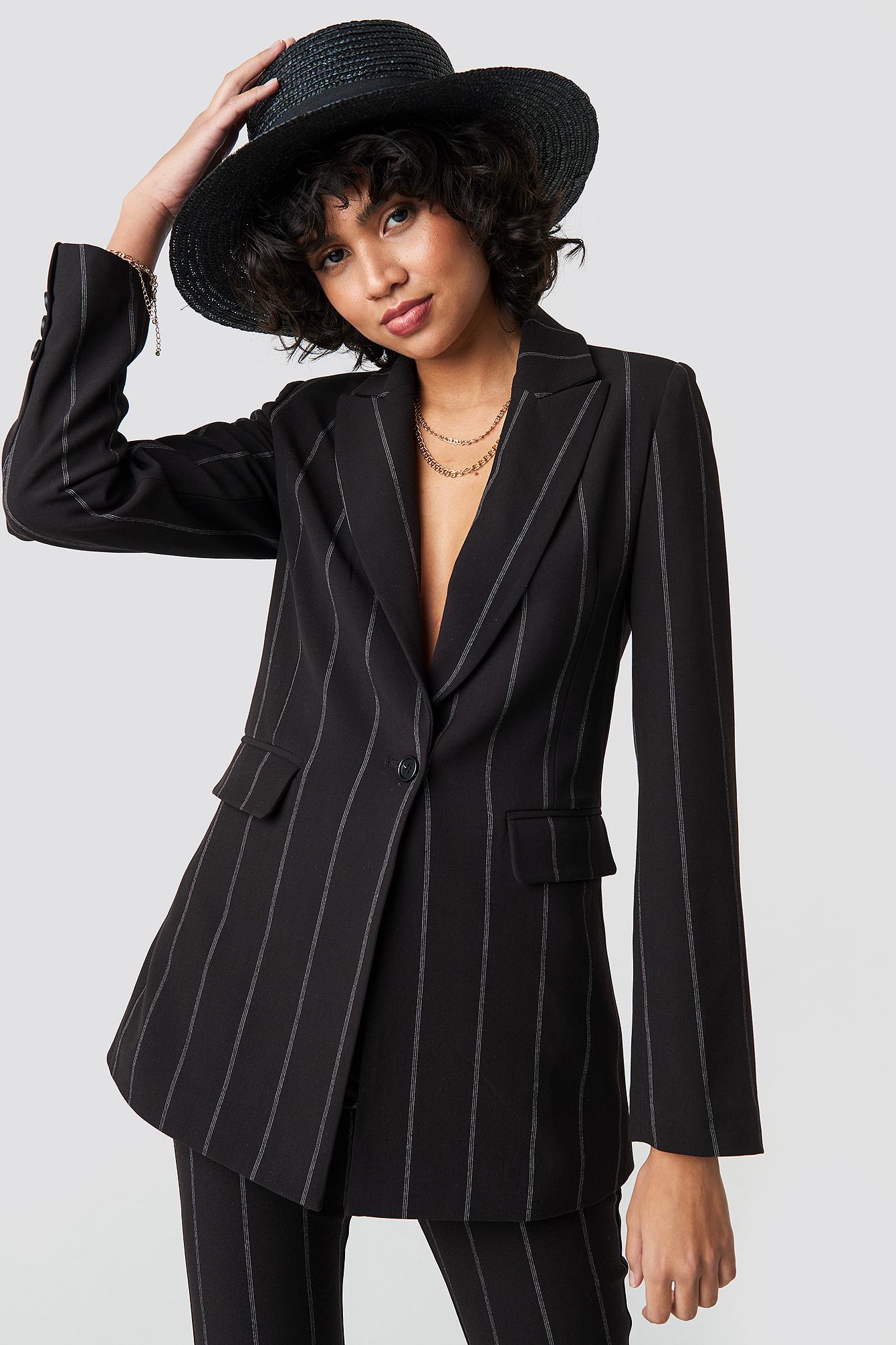 na-kd classic -  Striped Long Blazer - Black