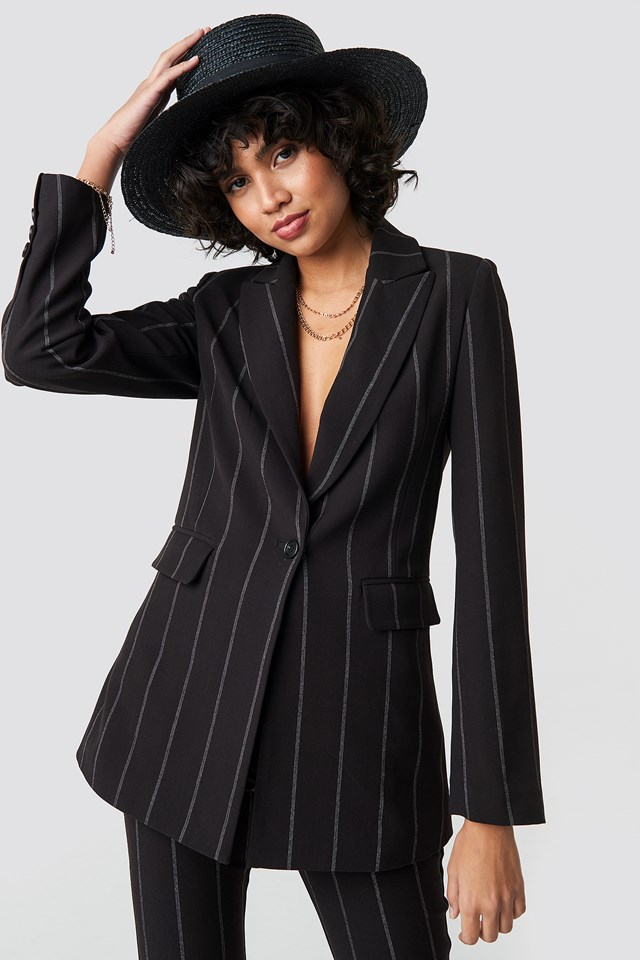 Striped Long Blazer Black