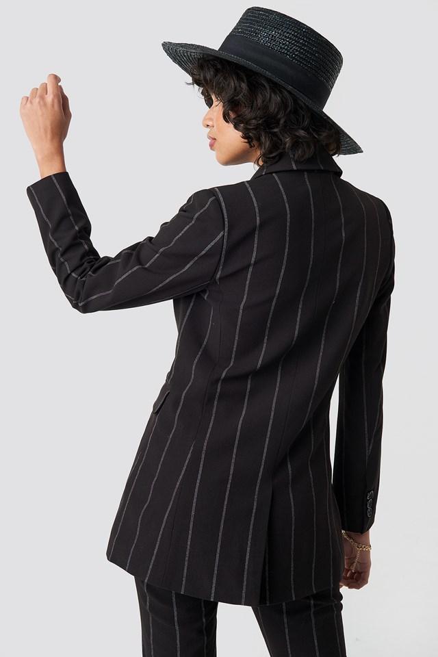 Striped Long Blazer Black