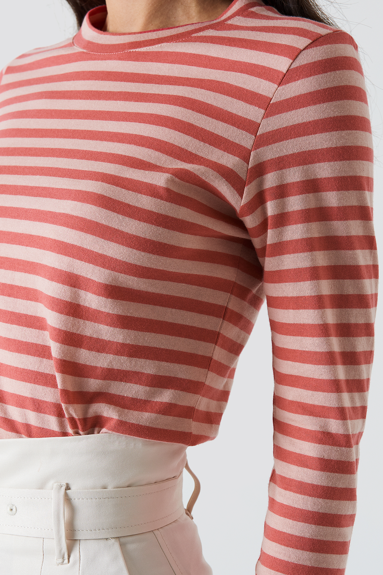 Pink/Red Striped Long Sleeve Top