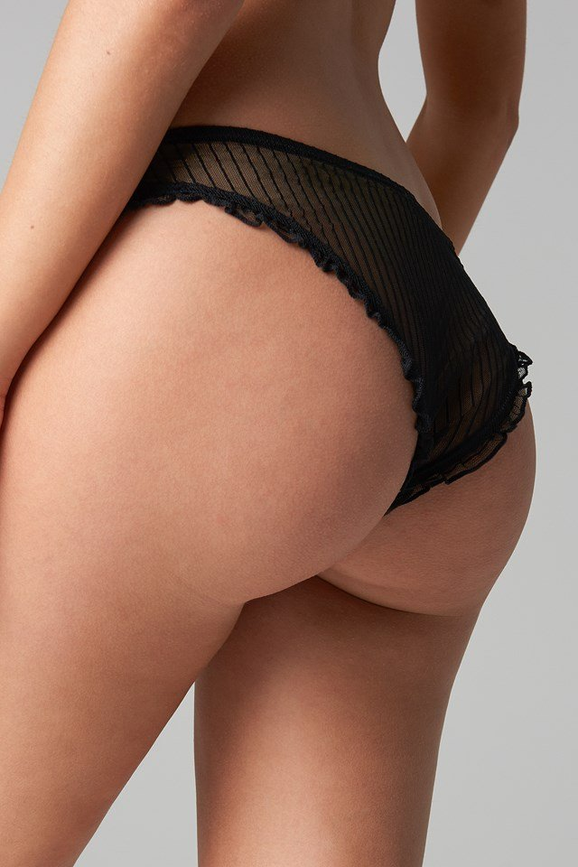 Striped Mesh Panty Black