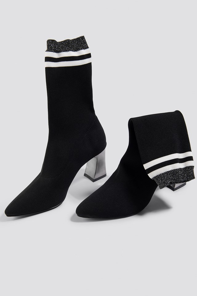 Striped Metallic Heel Sock Boots NA-KD Shoes
