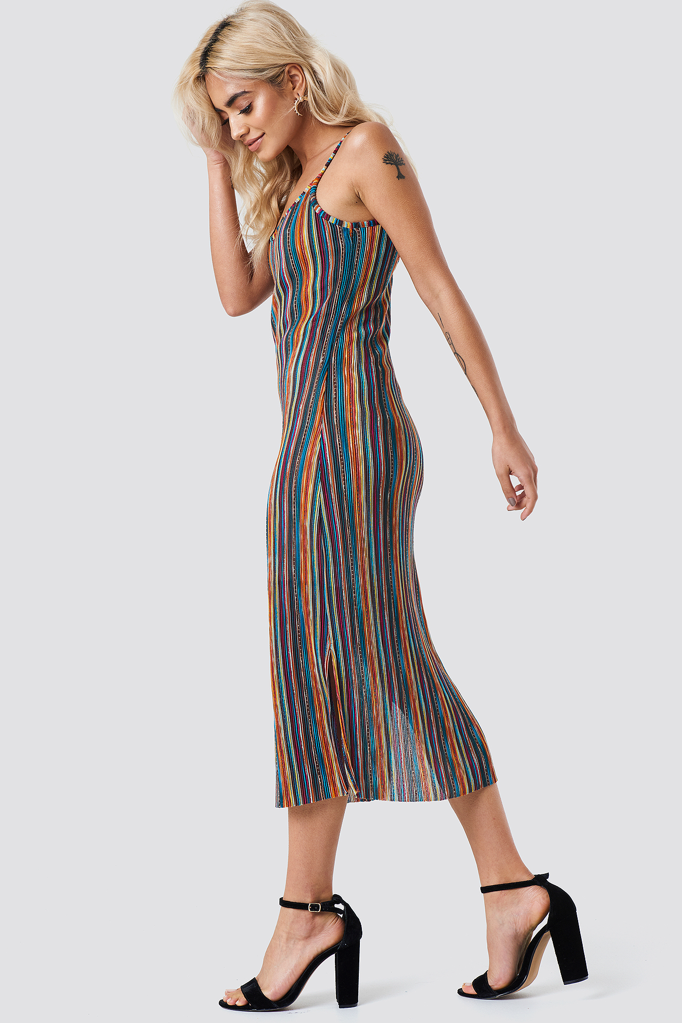 Striped Midi Side Slit Dress NA-KD.COM