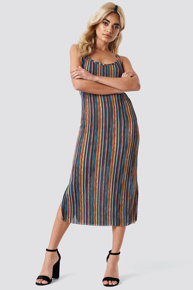 Striped Midi Side Slit Dress Striped
