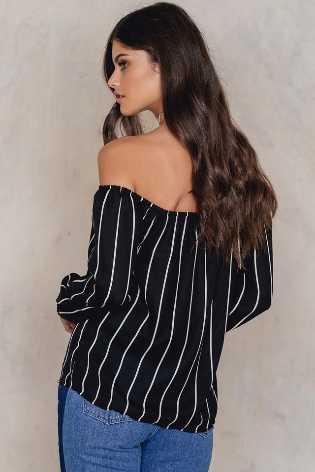 Striped Off Shoulder Button Top Black Stripe
