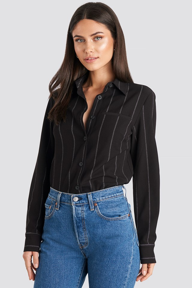 Striped Overshirt Black