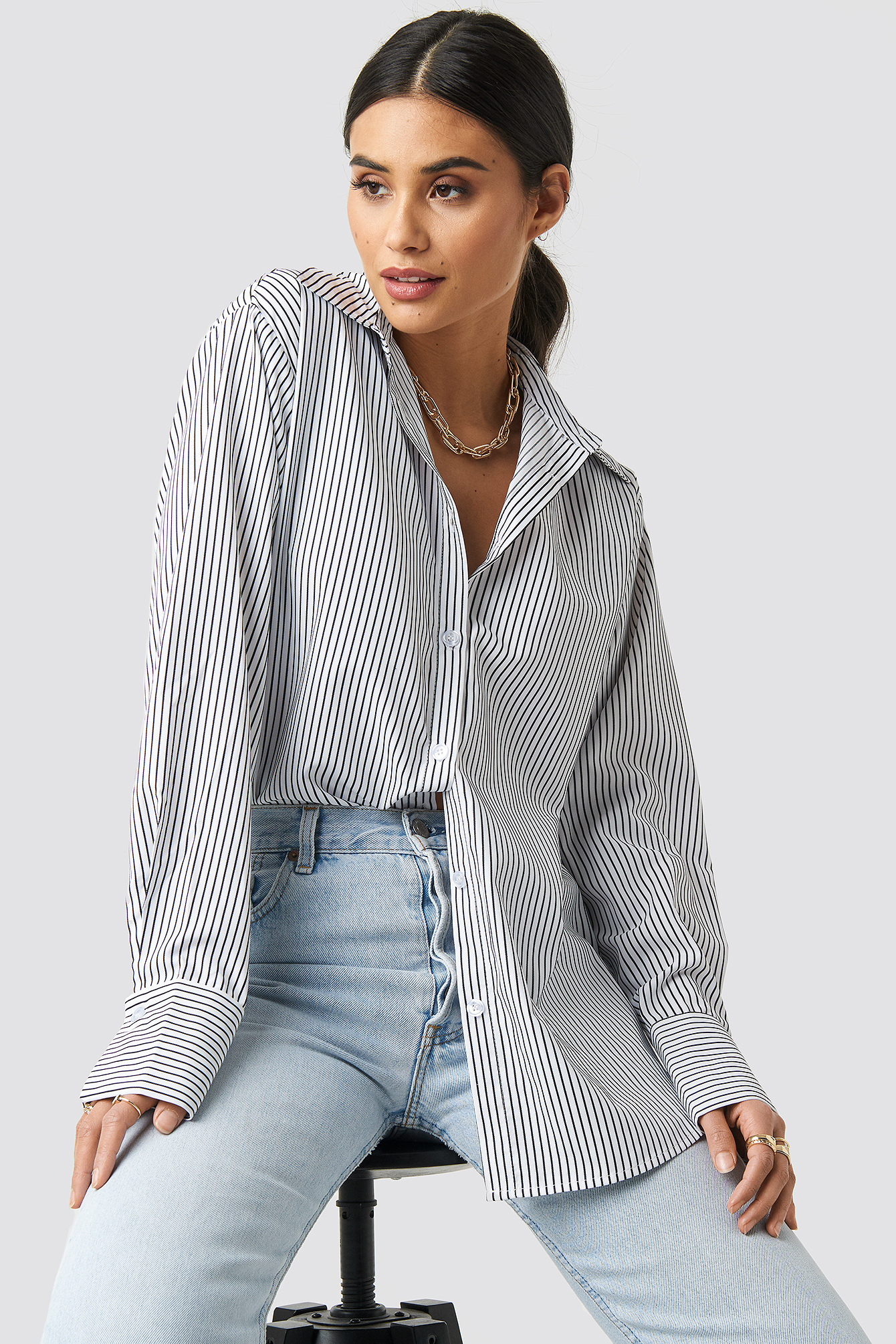 Striped Oversized Shirt NA-KD.COM