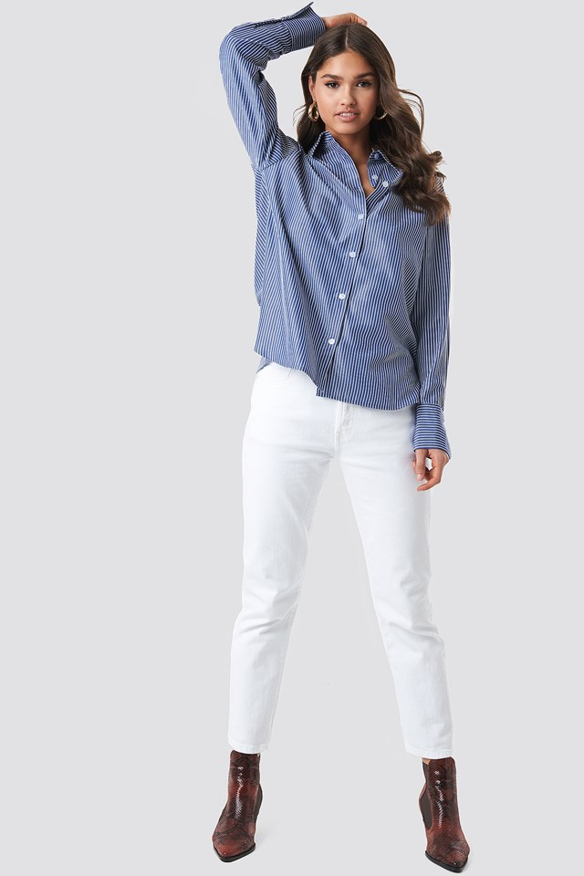 Striped Oversized Shirt Dark Blue/White Stripe