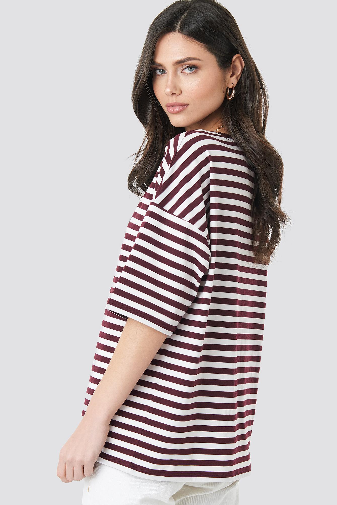 Striped Oversized Viscose Tee NA-KD.COM