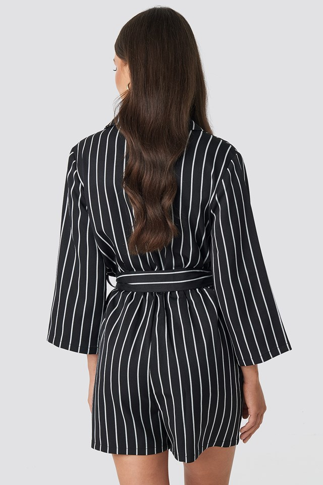 Striped Playsuit Black