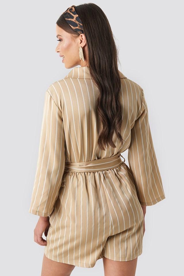 Striped Playsuit Beige