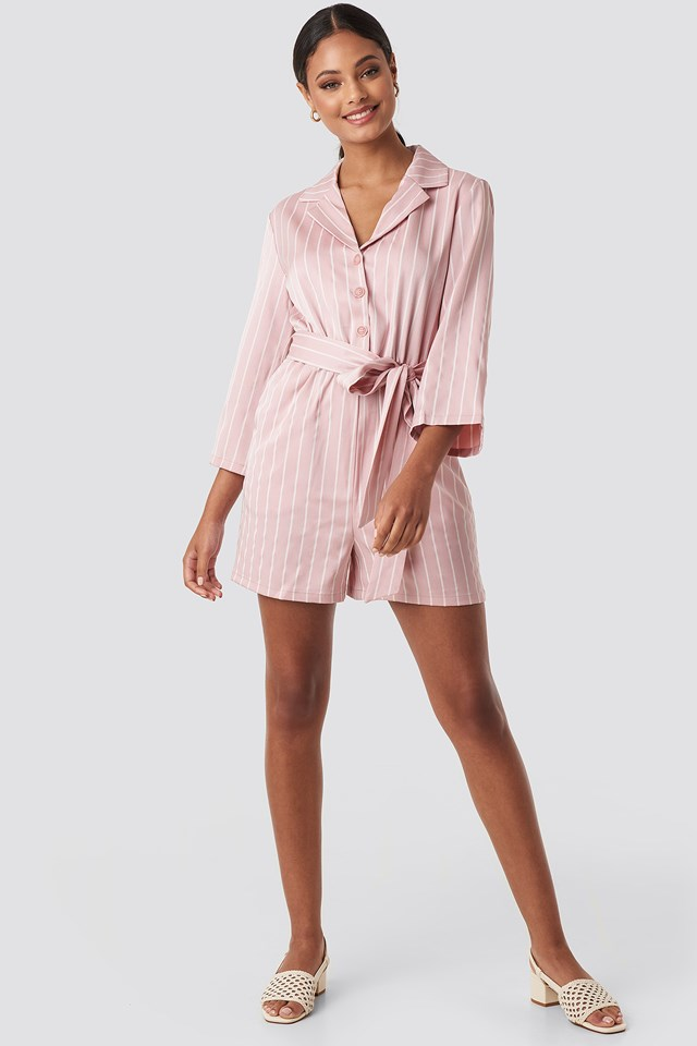 Striped Playsuit Pink