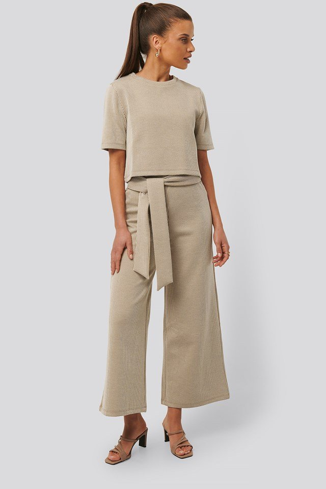 Striped Ribbed Pants Beige/White Stripe
