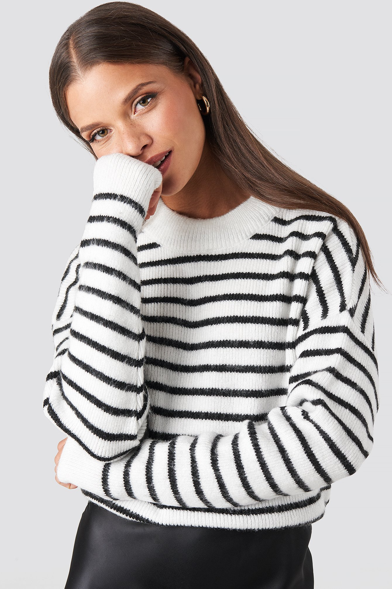 NA-KD Striped Round Neck Knitted Sweater - White