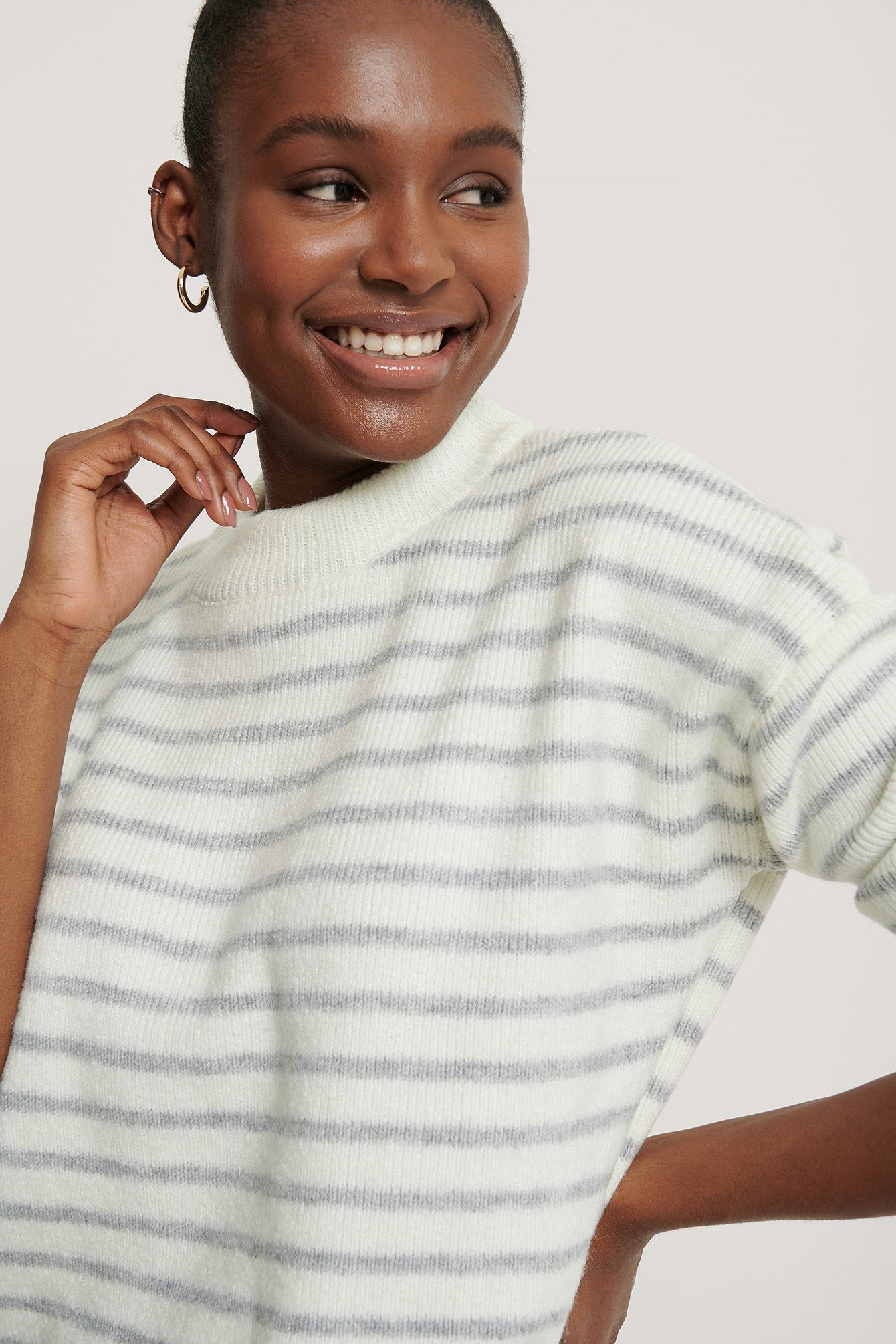NA-KD Striped Round Neck Knitted Sweater - White,Grey