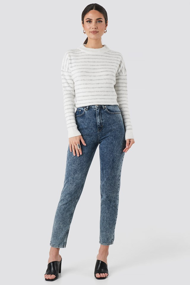 Striped Round Neck Knitted Sweater Grey/White