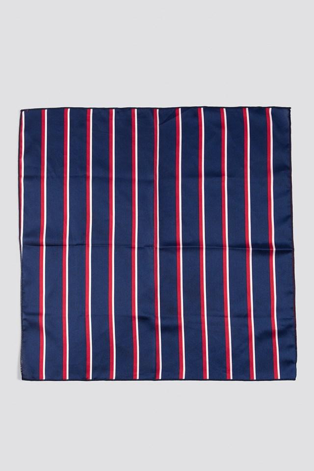 Striped Satin Scarf Navy