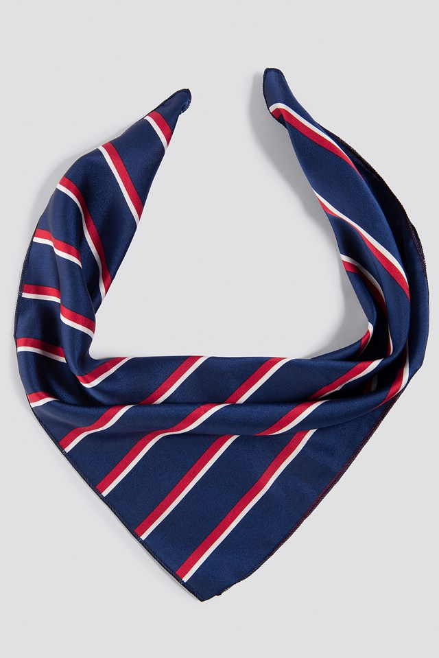 Striped Satin Scarf Navy