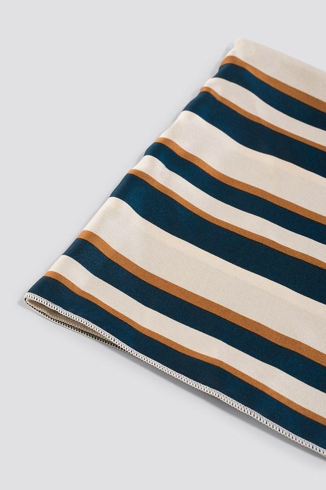 Striped Satin Scarf Cream