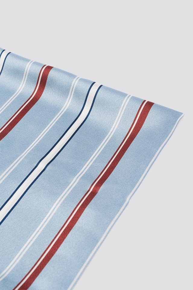 Striped Satin Scarf Light Blue