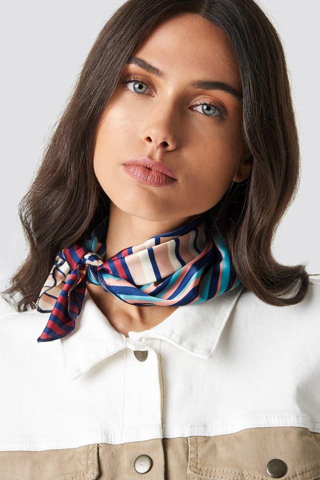 Striped Satin Scarf Multicolor