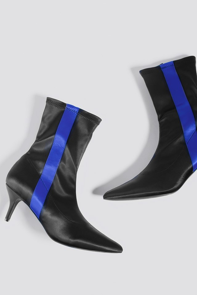 Striped Satin Sock Boots Black