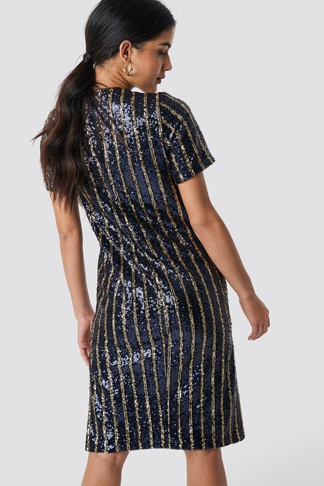 Striped Sequins Side Slit Dress Stripe