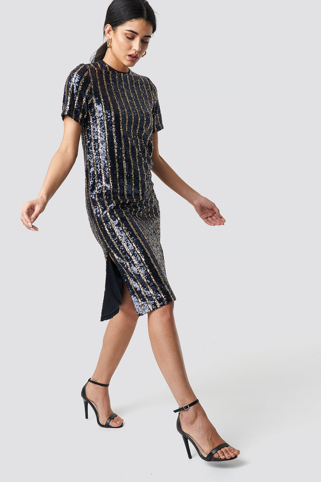 Striped Sequins Side Slit Dress  NA-KD.COM