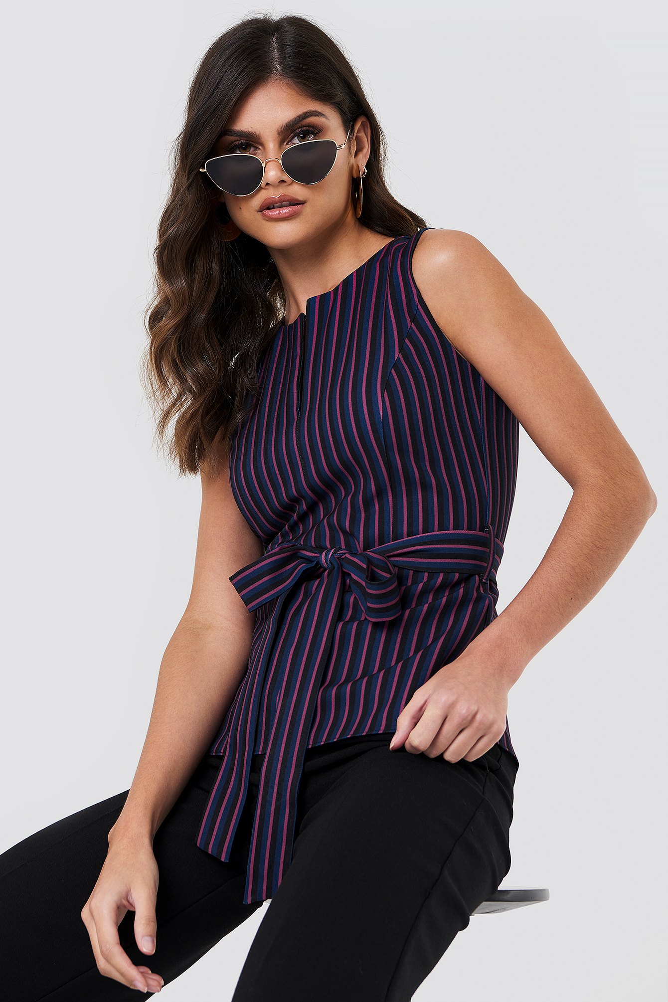 Striped Slit Collar Top NA-KD.COM