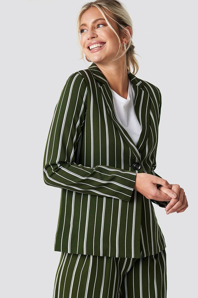Striped Straight Blazer NA-KD Classic