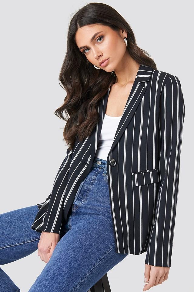 Striped Straight Blazer Dark Navy